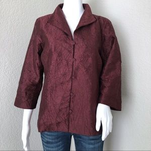 Eileen Fisher Silk Blouse Merlot Crinkle Lagenlook